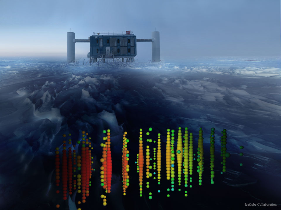 Distant Neutrinos Detected Below Antarctic Ice  -  From where do these neutrinos come?