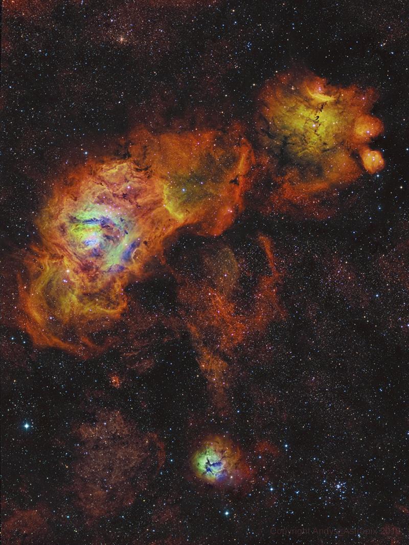 Sagittarius Sunflowers -  These three bright nebulae are often