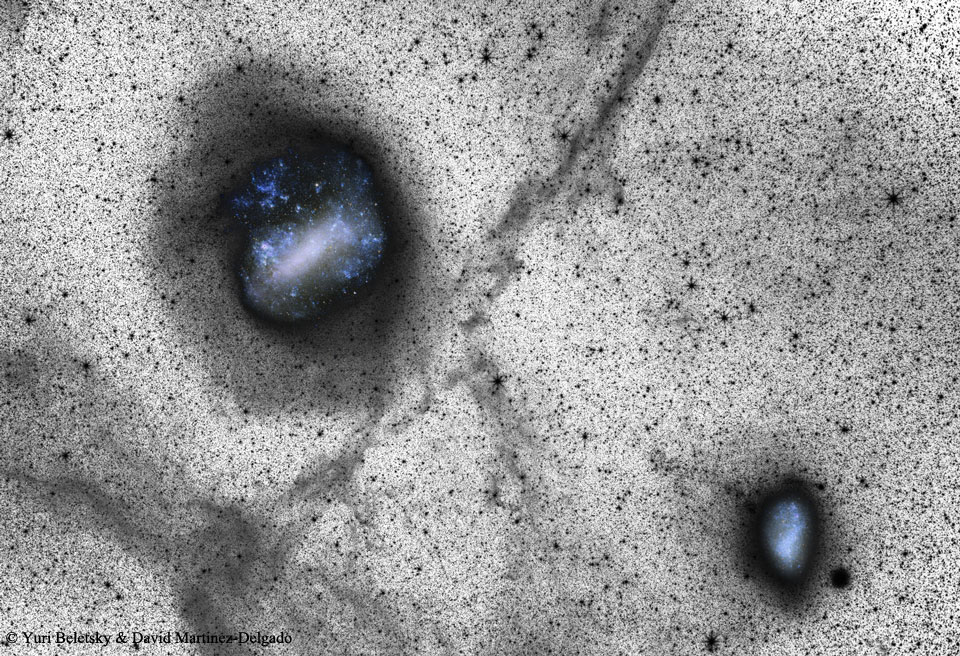 Deep Magellanic Clouds Image Indicates Collisions  -  Did the two most famous satellite galaxies of our Milky Way Galaxy once collide?