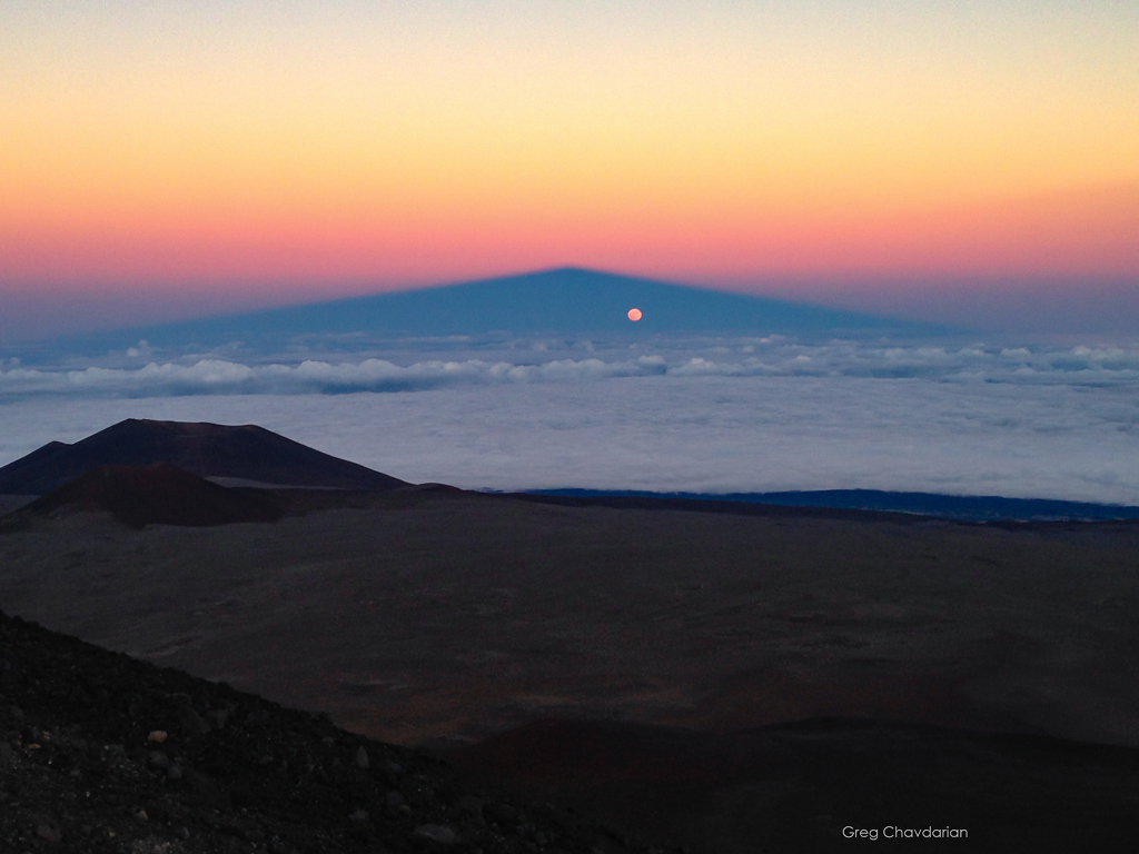 Full Moon in Mountain Shadow -  On October 15, standing near the summit of Hawaii