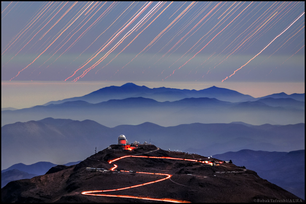 Cerro Tololo Trails -  Early one moonlit evening car lights left a wandering