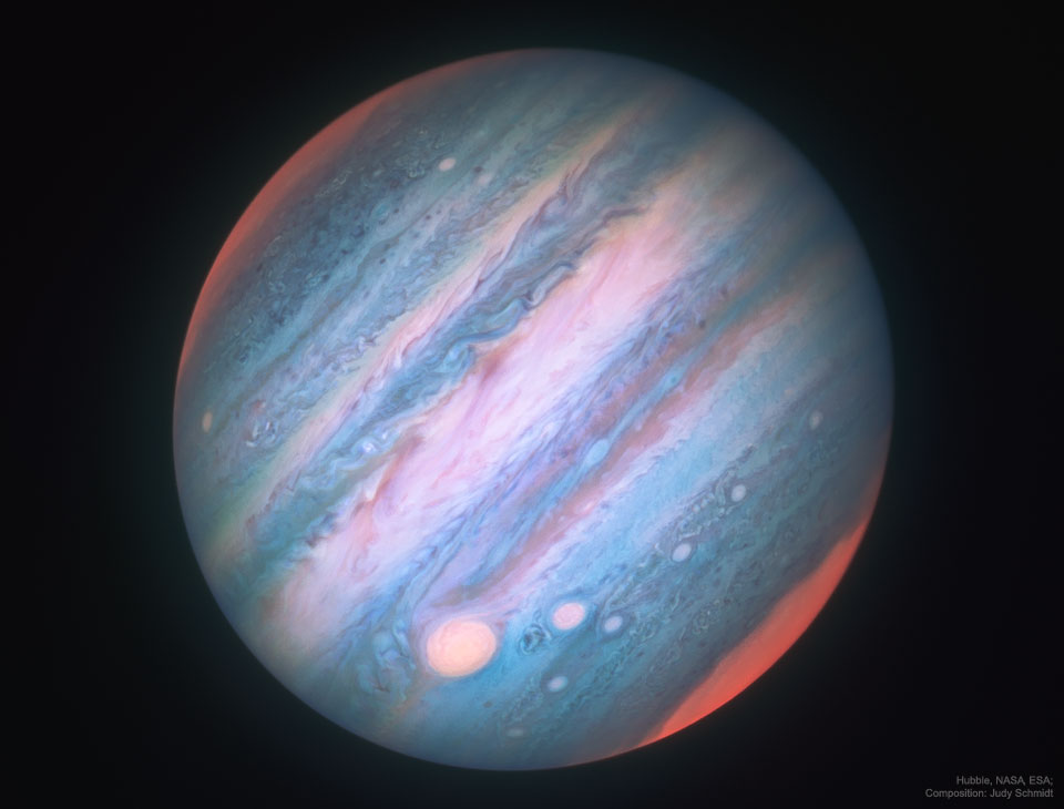 Jupiter in Infrared from Hubble   -  Jupiter looks a bit different in infrared light.