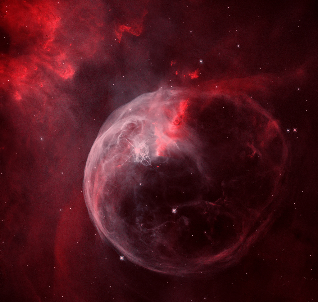 NGC 7635: The Bubble Nebula -  Blown by the wind from a massive star, this interstellar