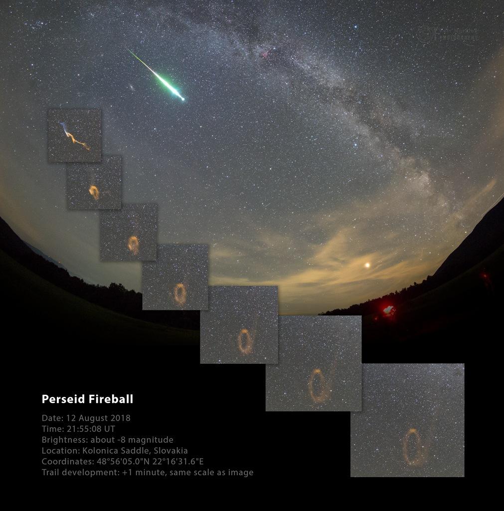 Perseid Fireball and Persistent Train -  Perseid Fireball and Persistent Train