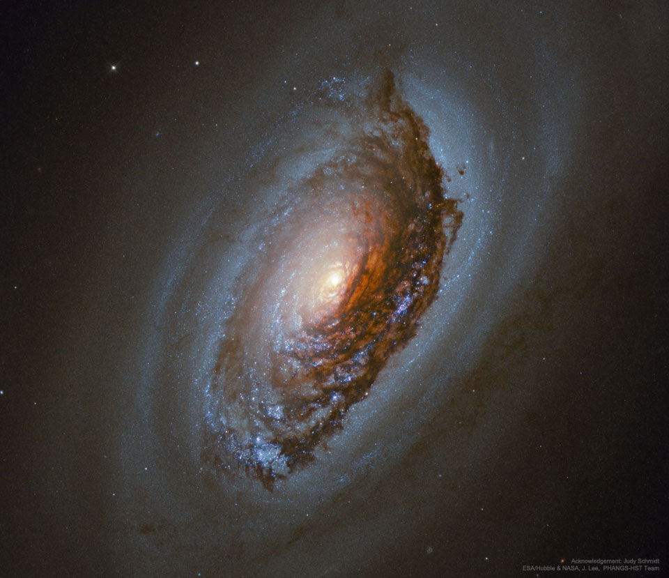 Messier 64, the Evil Eye Galaxy, is pictured. See Explanation.